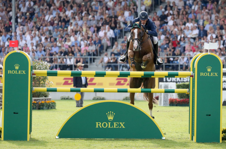 Home jumper Daniel Deusser narrowly failed to beat the time of the Rolex Grand Prix winner Kent Farrington tonight at the World Equestrian Festival in Aachen, Germany ©CHIO Aachen
