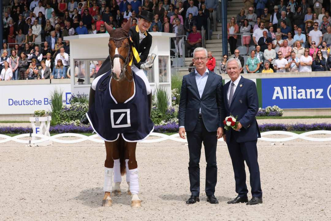 Isabelle Werth, on Bella Rose, celebrates a 50th birthday win in the Main Arena at the World Equestrian Festival in Aachen ©CHIO Aachen