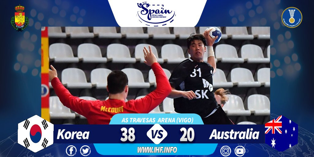 South Korea earn final place in last 16 at Men's Junior World Handball Championship in Spain