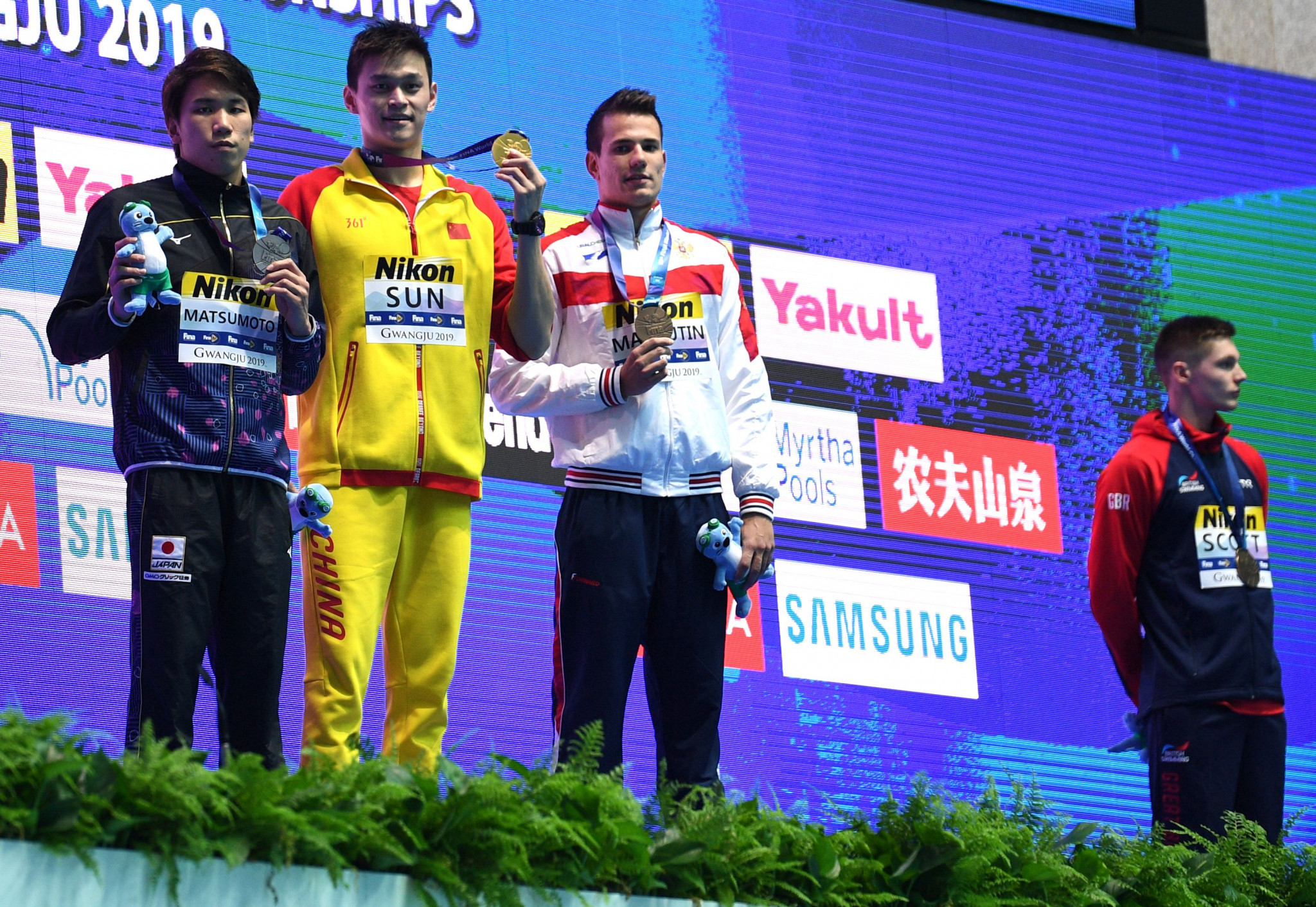 Duncan Scott refused to pose for photographs with Sun Yang ©Getty Images