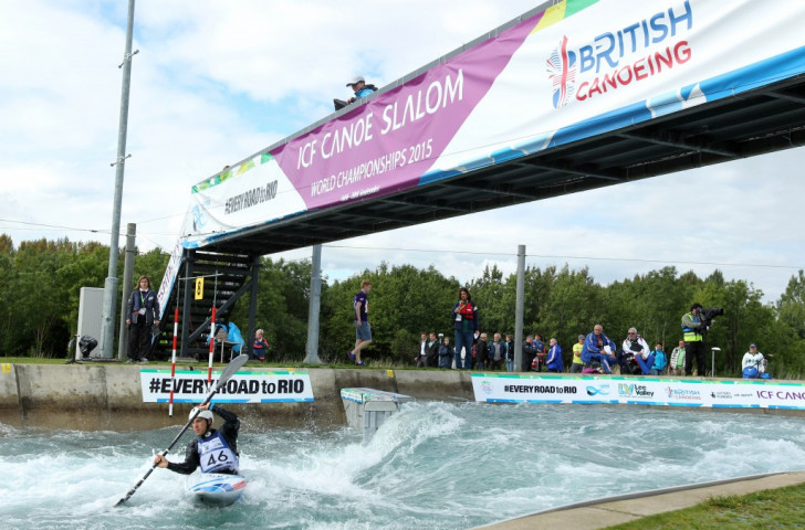 Competitors in action at this year' Canoe Slalom World Championships on the London 2012 Lee Valley course