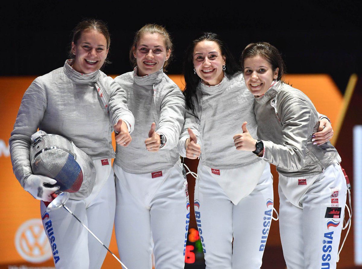 Russia avenged their 2018 final defeat to France to win the women's team sabre event on the last day of the World Fencing Championships in Budapest ©FIE/Twitter