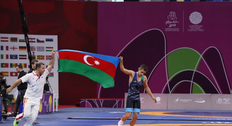 Azerbaijan top wrestling medals table at Summer EYOF in Baku