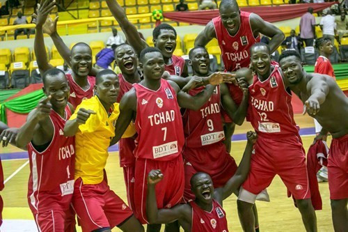 Chad show their delight after reaching the quarter-finals of the inaugural FIBA AfroCan tournament in Mali after beating Egypt 98-95 to set up a quarter-final against DR Congo ©FIBA