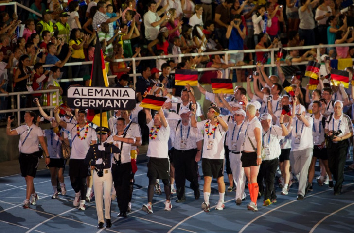 Germany's team at the Opening Ceremony of the 2013 World Games in Cali, Colombia, an event IWGA President José Perurena predicts has
