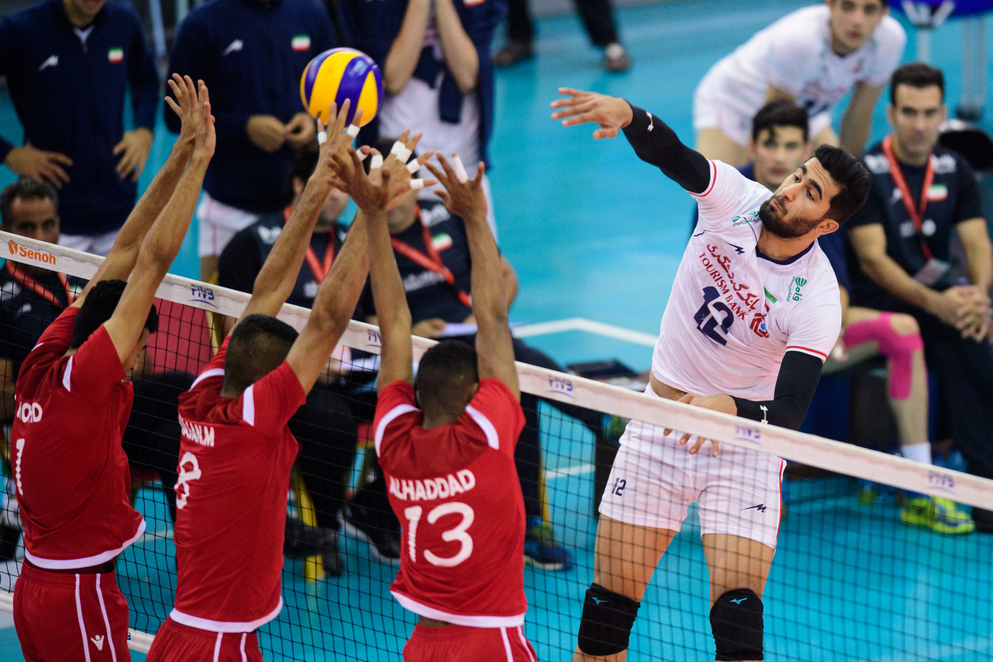 Iran's captain Amirhossein Esfandiar, right, has led his team to a first final in the FIVB Men's Under-21 World Championship in Bahrain ©FIVB
