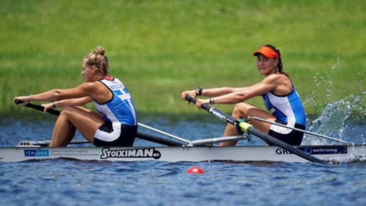 Greece's Christina Bourmpou and Maria Kyridou took almost four seconds off the under-23 World Best Time for the women's pair in Florida ©World Rowing