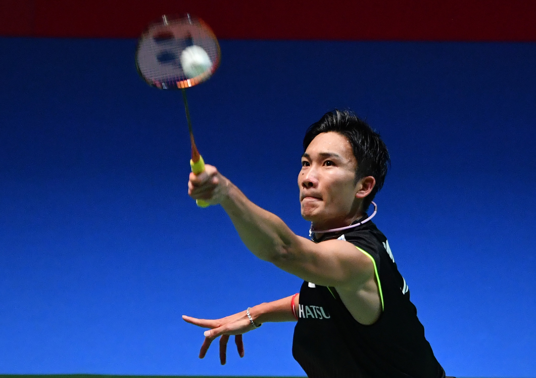 Japan's defending men's singles champion and world number one Kento Momota reached the final with victory over India's Sai Praneeth Bhamidipati in Tokyo ©Getty Images