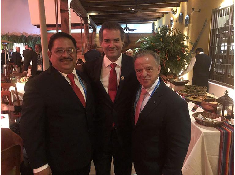 International Federation of Bodybuilding and Fitness President Rafael Santonja and special advisor Santiago Estrada met Panam Sports President Neven Ilic ©IFBB