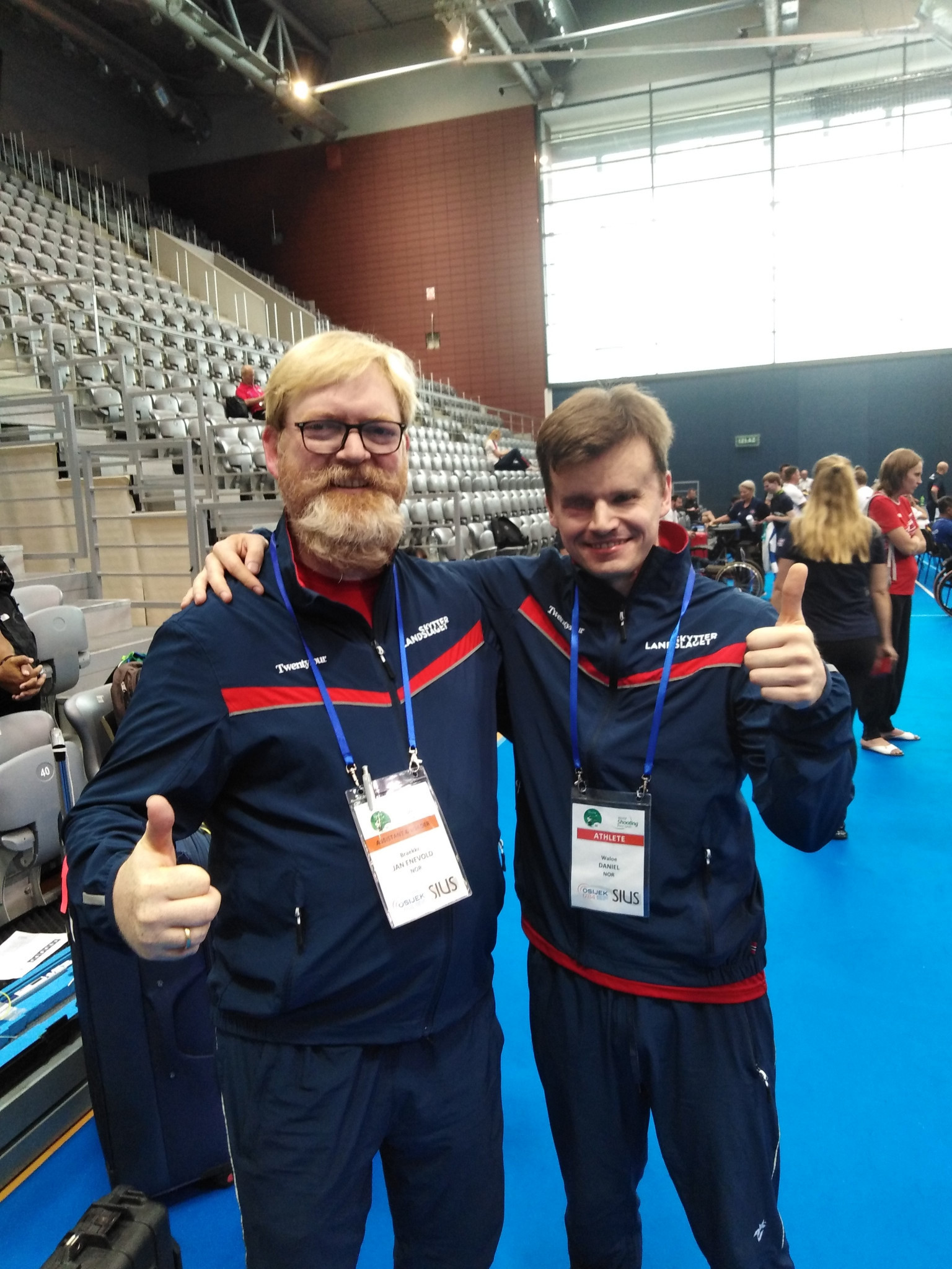 Norway's Daniel Waloe, right, topped the podium in the vision-impaired 10m air rifle prone ©WSPS
