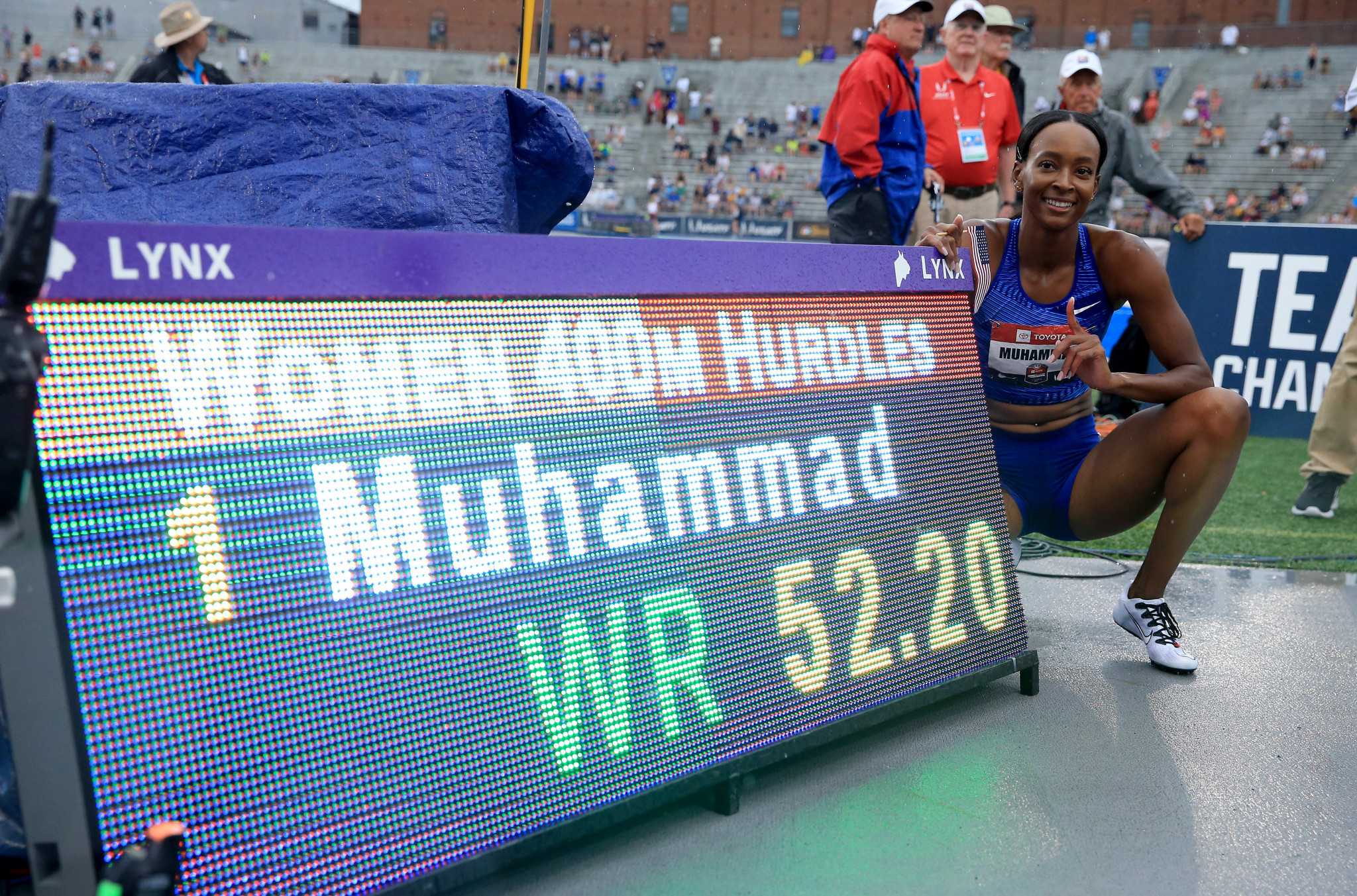 Olympic champion Dalilah Muhammad broke the world record in the women's 400 metres hurdles ©Getty Images