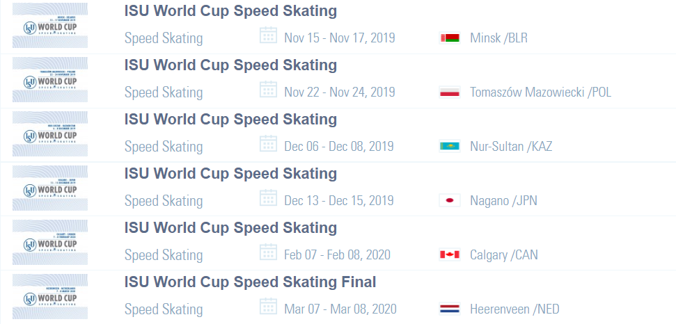 The 2019-2020 ISU Speed Skating World Cup season will be made up of six stops  ©ISU
