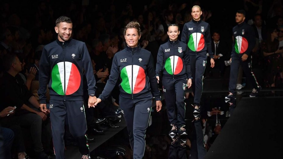 Athletes took over the Milan runway as Giorgio Armani unveiled the Italian uniform for the 2020 Olympic and Paralympic Games in Tokyo ©Getty Images