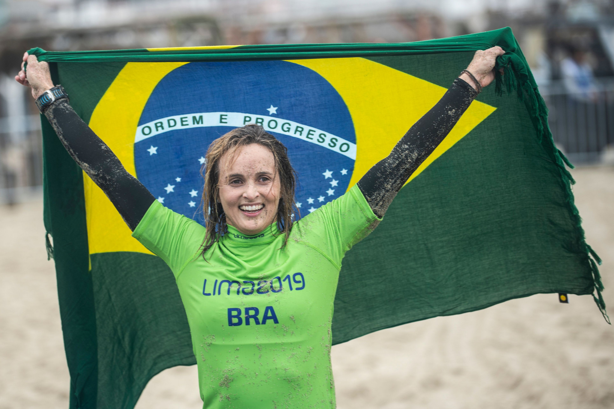 Brazil's Lena Guimaraes won the women's SUP racing event at Lima 2019 ©Getty Images