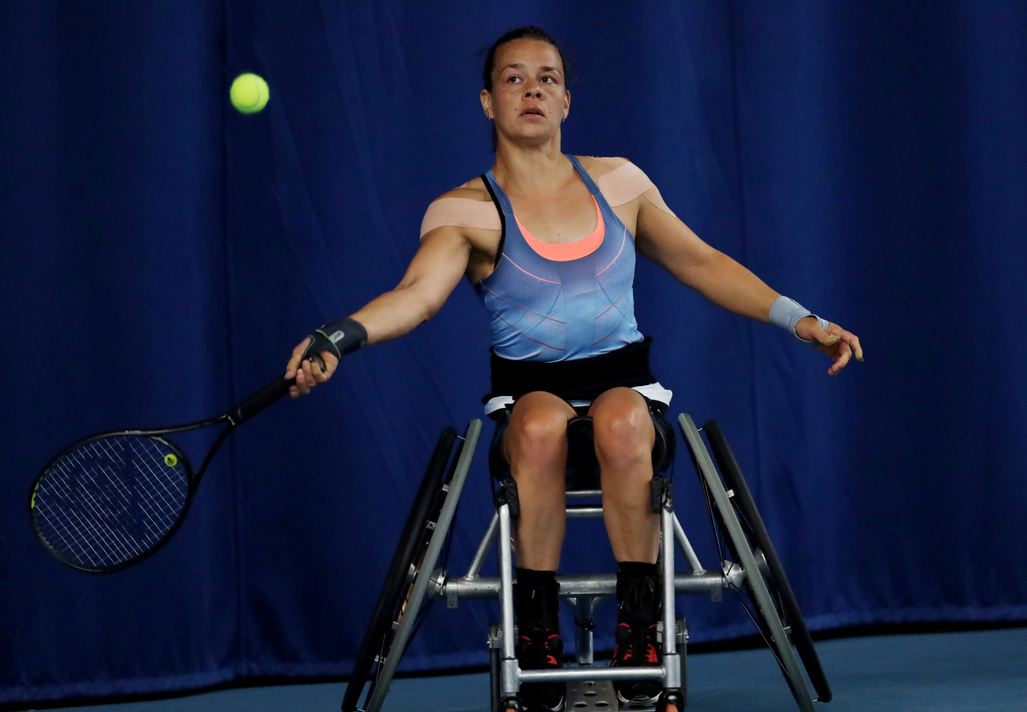 Top seed Marjolein Buis from the Netherlands won 6-0, 6-2 against fourth seed Japanese Manami Tanaka at the International Tennis Federation Belgian Wheelchair Tennis Open final ©Getty Images