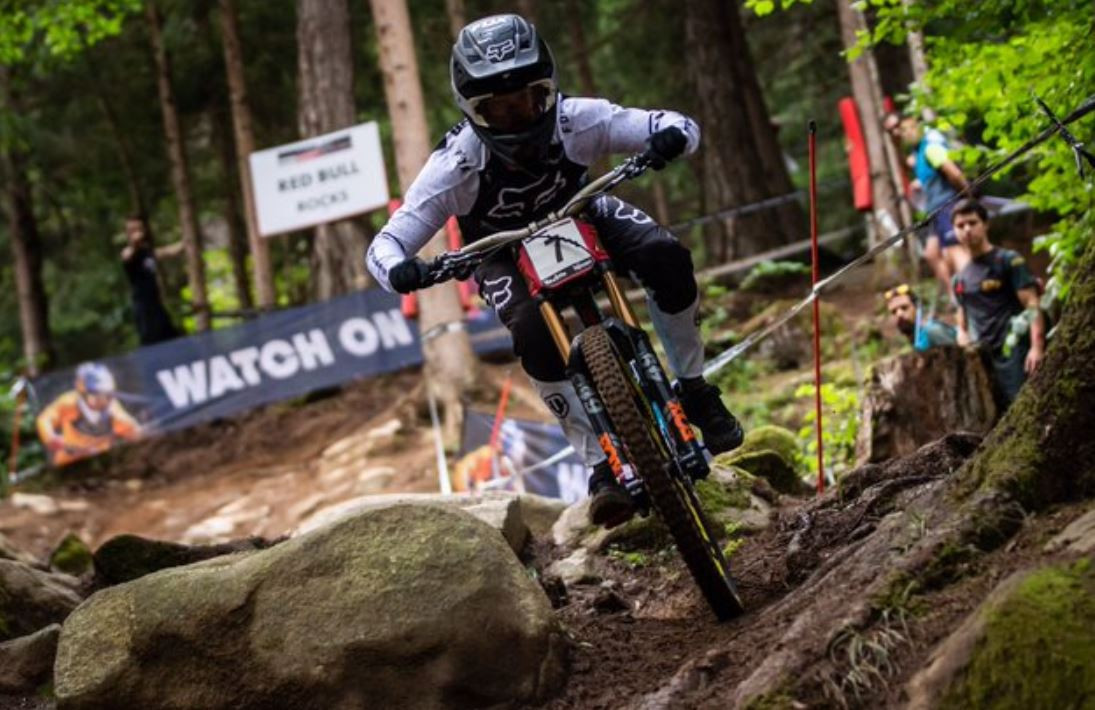 Briton Laurie Greenland won the men's downhill title at the International Cycling Union Mountain Bike World Cup in Val di Sole ©UCI