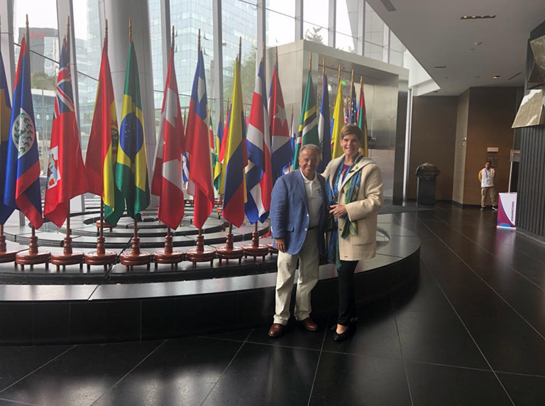 International Federation of Bodybuilding and Fitness President Rafael Santonja met with International Olympic Committee Executive Board member Nicole Hoevertsz ©IFBB