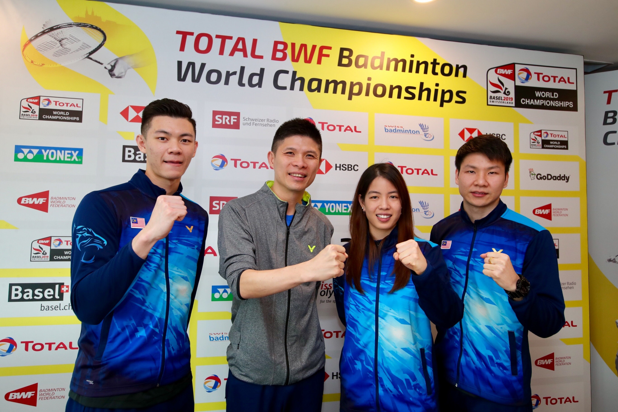 Malaysia team members Lee Zii Jia, Wong Choong Hann, Shevon Jemie Lai and Goh Soon Huat were among those in attendance at the draw ©BWF