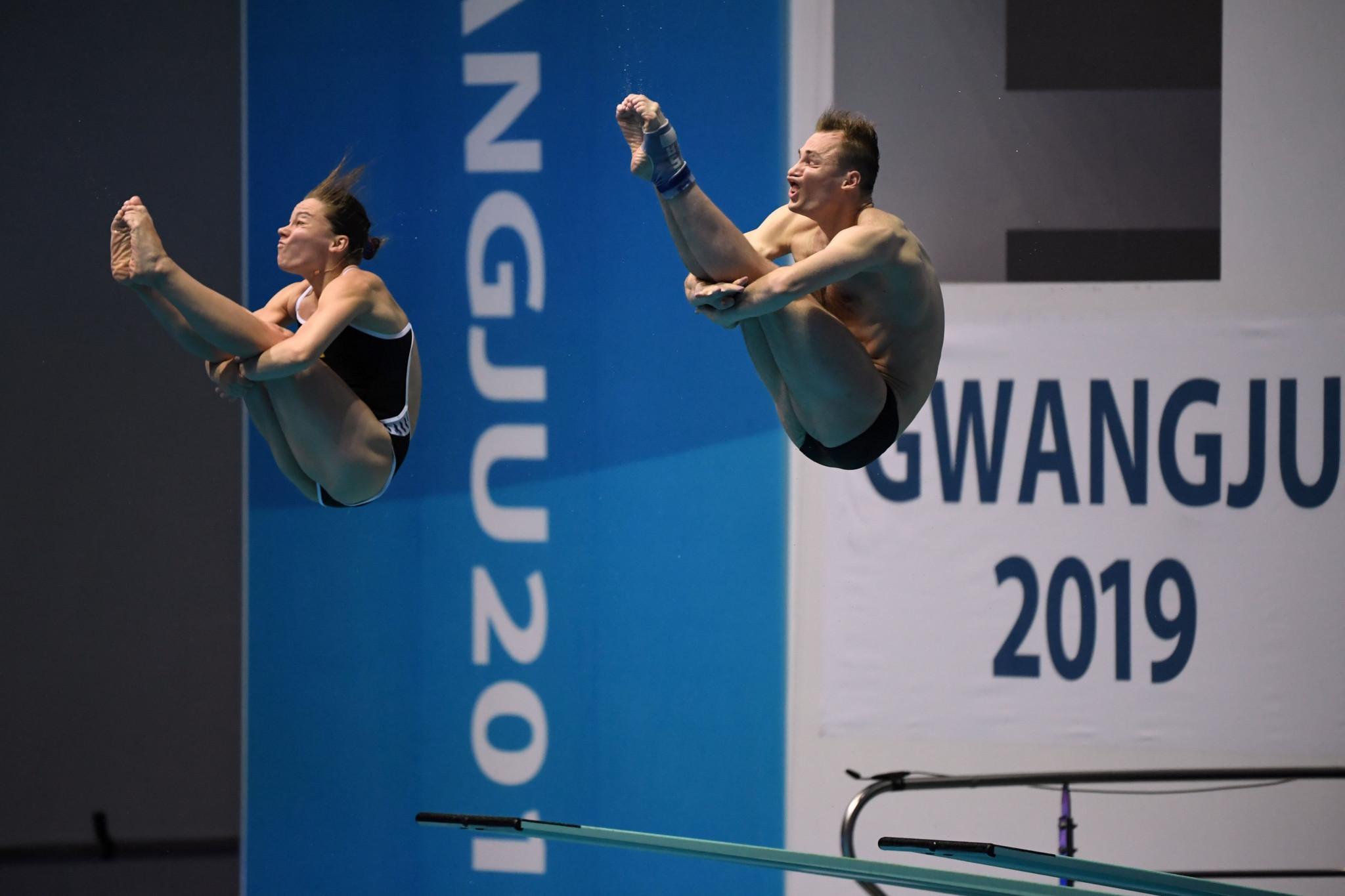 Viktoriya Kesar and Stanislav Oliferchyk of Ukraine won gold in the mixed 3m synchro final ©Getty Images