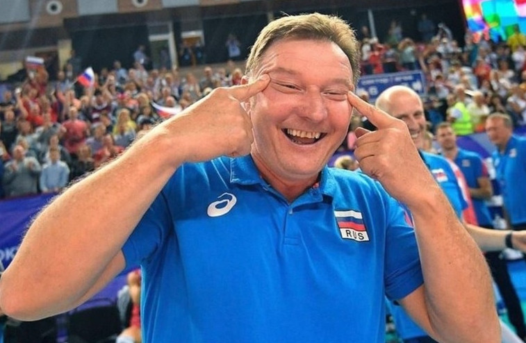 Russia's female volleyball team assistant coach Sergio Busato allegedly made a racist gesture following his side's victory over South Korea to book their place at next year's Olympic Games in Tokyo ©Instagram