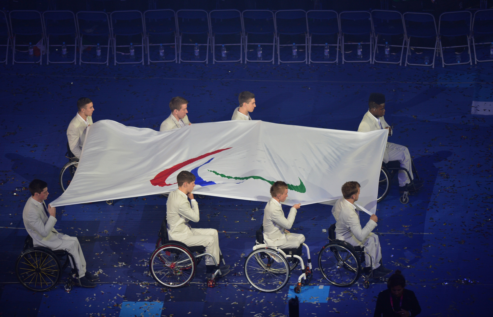 The Paralympic Flag is carried to be raised during the opening ceremony of the London 2012 Paralympic Games at the Olympic Stadium in east London on August 29, 2012 ©Getty Images