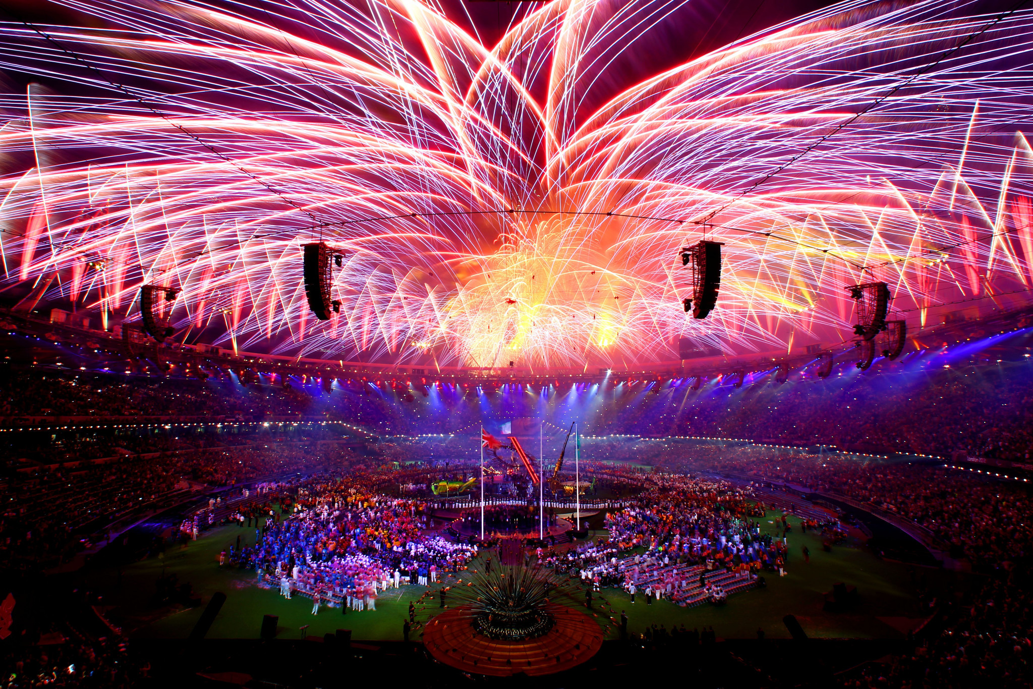 Fireworks light up the stadium during the closing ceremony on day 11 of the London 2012 Paralympic Games at Olympic Stadium on September 9, 2012 in London, England ©Getty Images