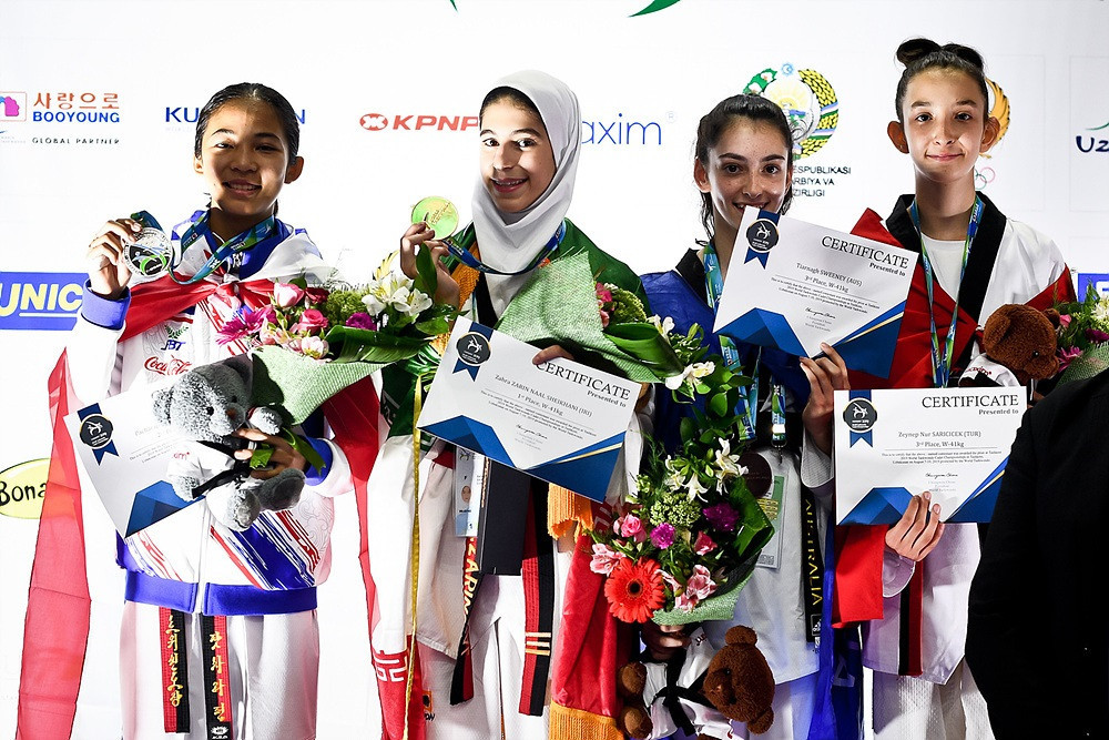 Zahra Zarin Naal Sheikhani was one of Iran's two gold medallists on day two of the World Cadet Taekwondo Championships in Tashkent ©World Taekwondo