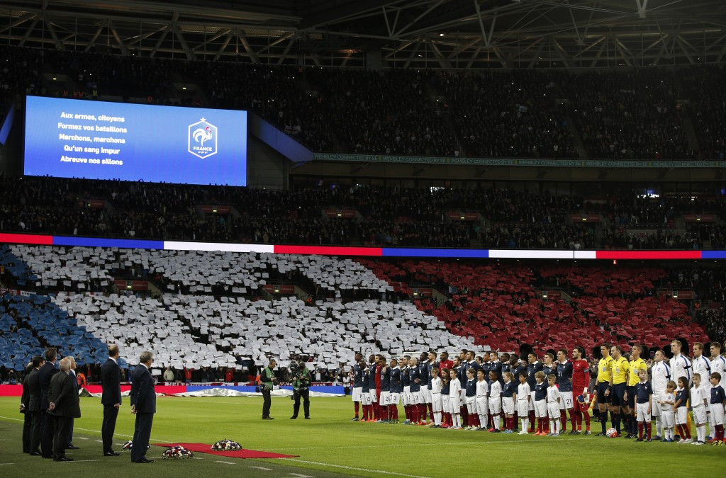 Fans of both teams joined in with France's national anthem