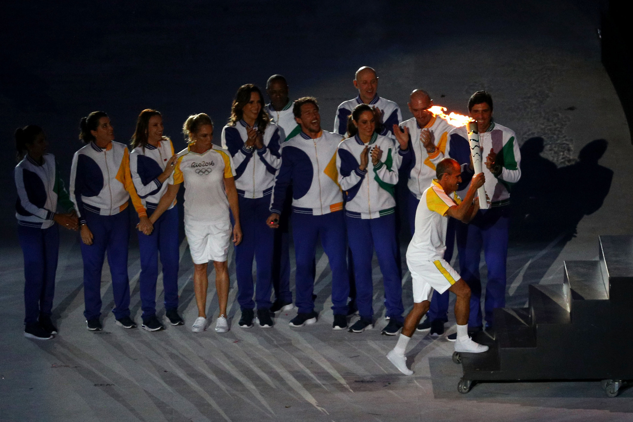 Former Brazilian athlete Vanderlei Cordeiro de Lima lights the Olympic cauldron with the Olympic torch during the opening ceremony of the Rio 2016 Olympic Games ©Getty Images