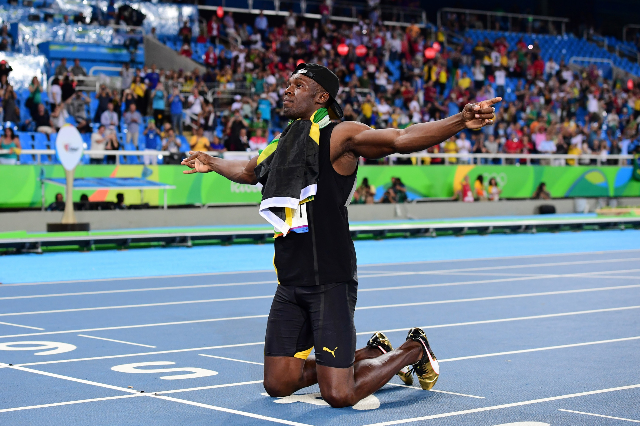 Jamaica's Usain Bolt celebrates his team's victory at the end of the Men's 4x100m Relay Final during the athletics event at the Rio 2016 Olympic Games at the Olympic Stadium in Rio de Janeiro ©Getty Images