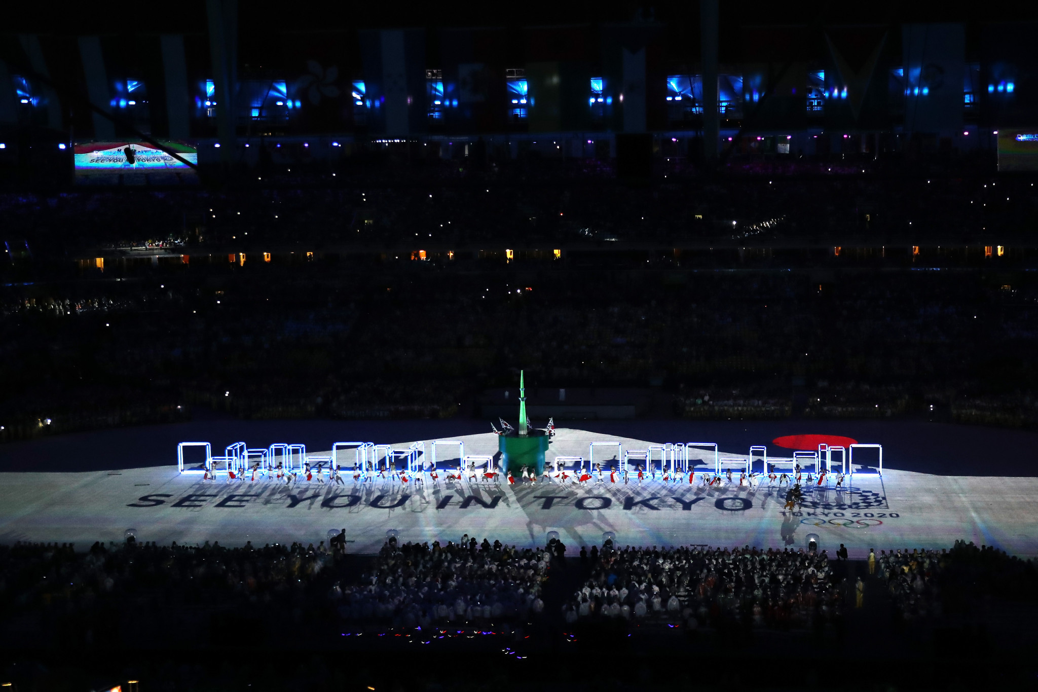 A projection onto the playing field announces the Tokyo 2020 Olympic Games during the closing ceremony of the Rio 2016 Olympic Games ©Getty Images