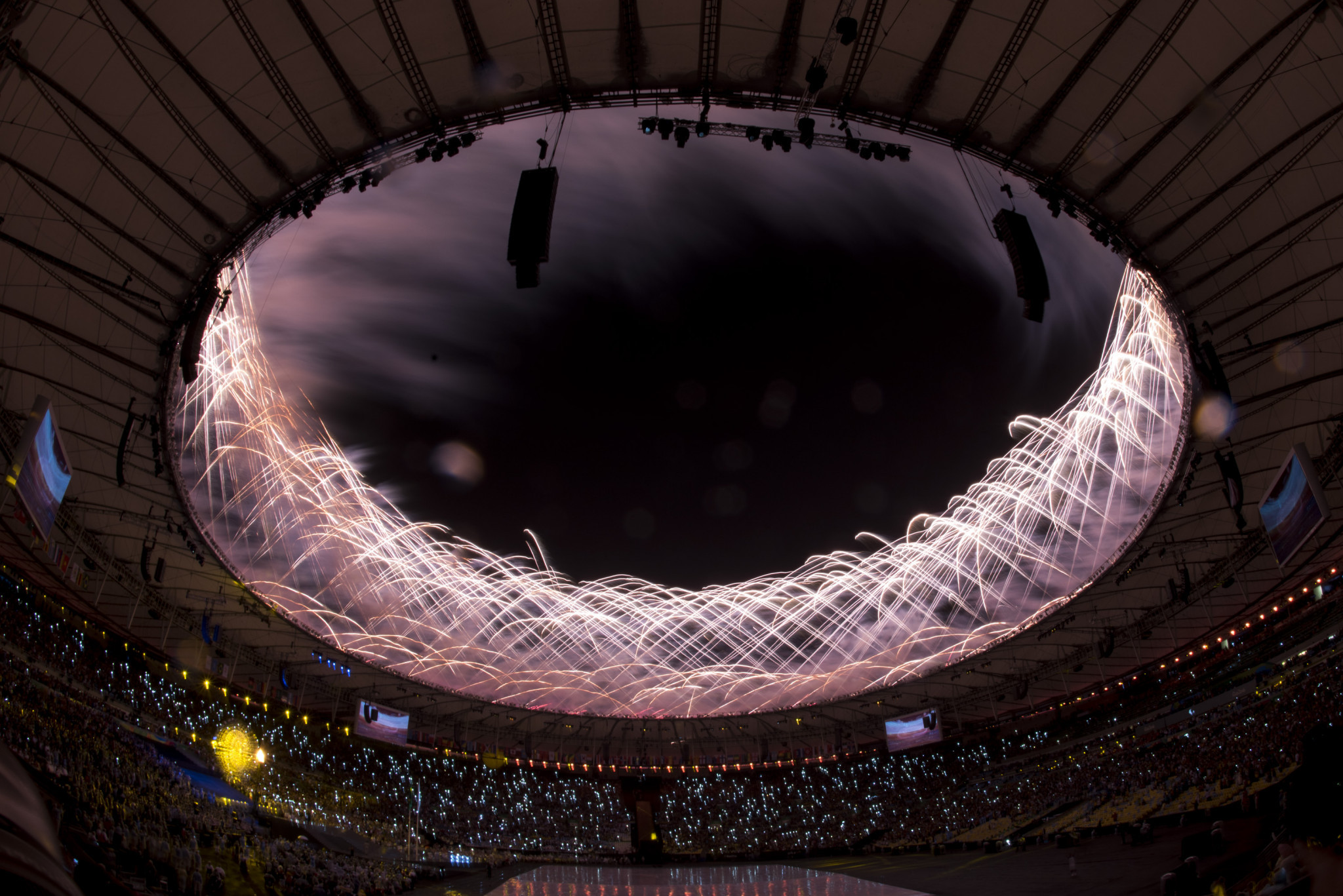 Fireworks exploding during the Opening Ceremony of the Rio 2016 Paralympic Games at Maracana Stadium on September 7, 2016 ©Getty Images