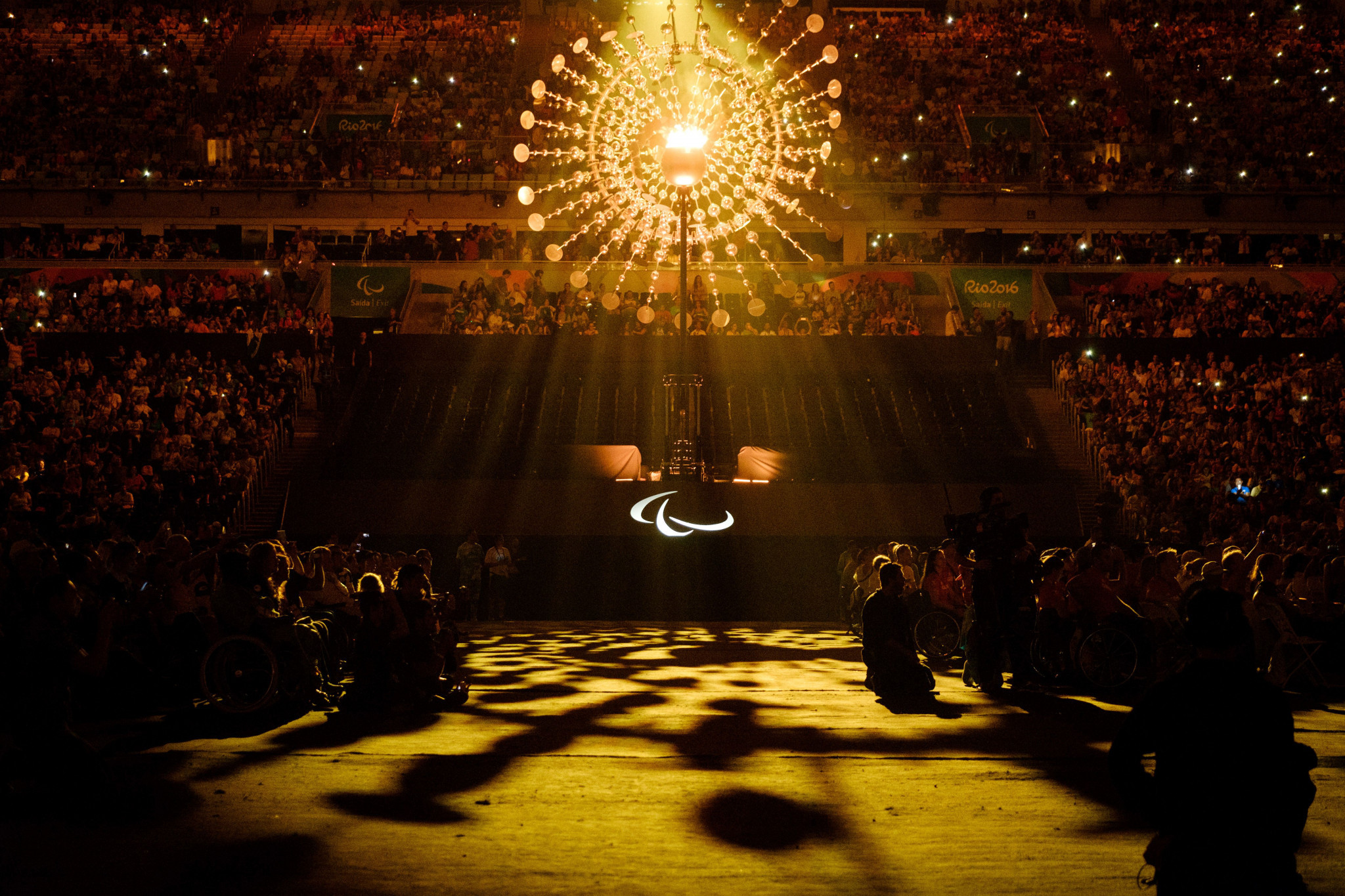 The Olympic Caldron is seen during the closing ceremony of the Rio 2016 Paralympic Games at the Maracana stadium in Rio de Janeiro on September 18, 2016 ©Getty Images