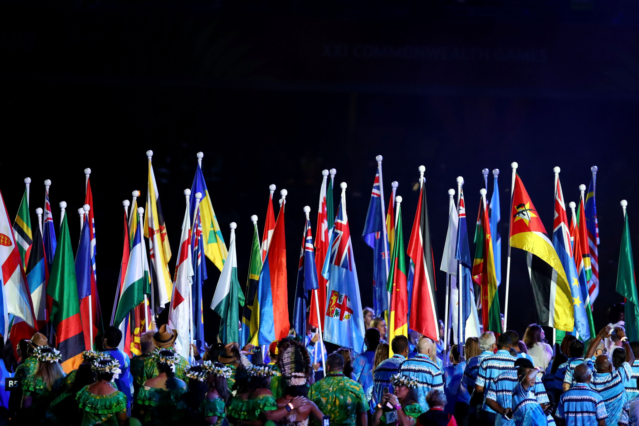 Flags of competing countries are seen during the Opening Ceremony for the Gold Coast 2018 Games ©Getty Images