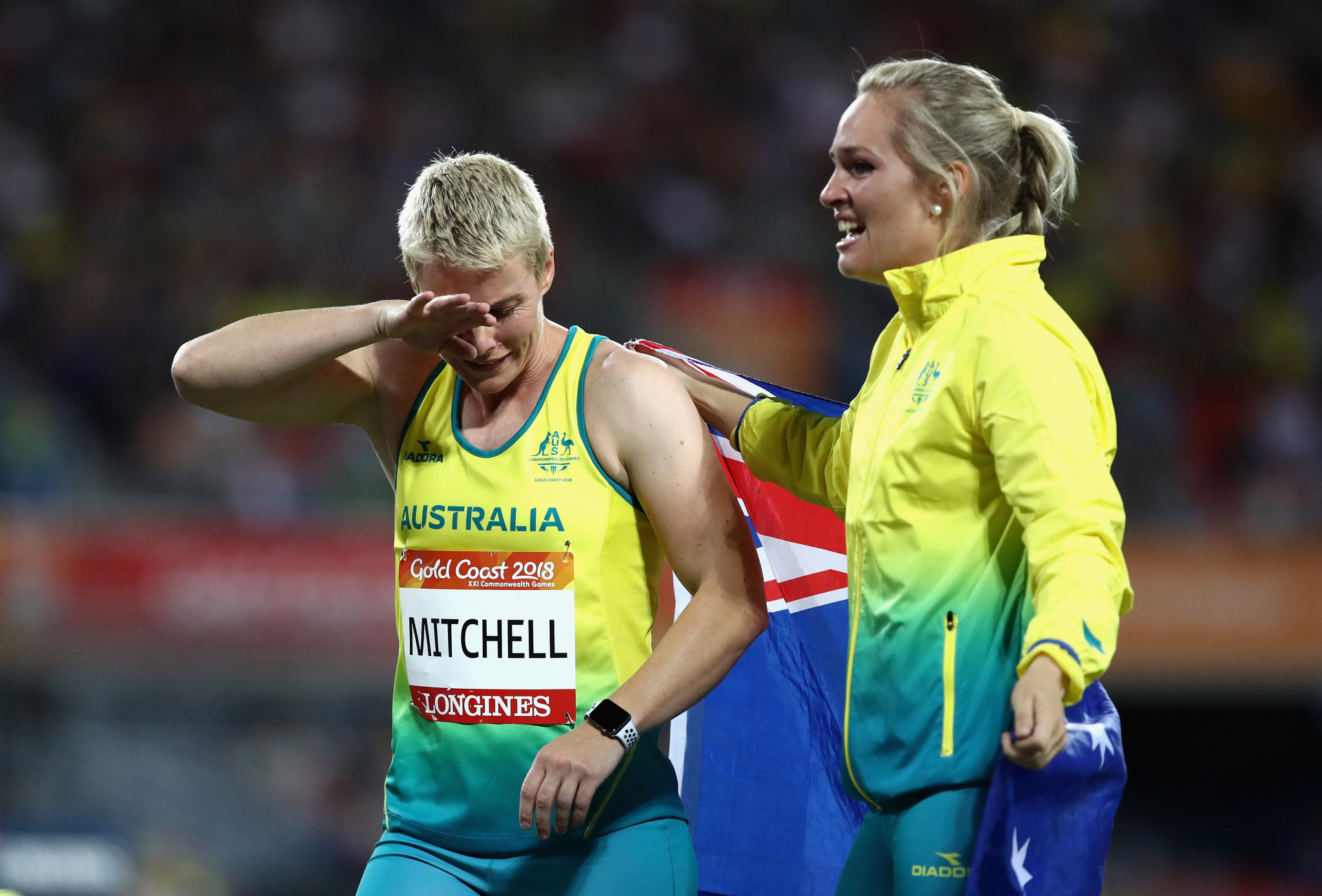 Kathryn Mitchell of Australia is congratulated as she wins gold by silver medallist Kelsey-Lee Roberts of Australia in the Women's Javelin final during athletics on day seven of the Gold Coast 2018 Commonwealth Games ©Getty Images