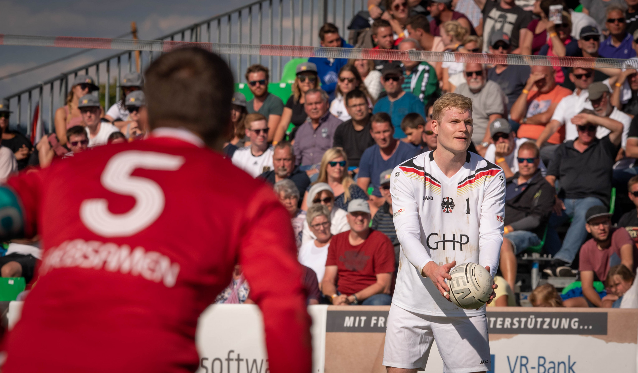 Patrick Thomas, right, will be part of the German team which is bidding to defend its 2015 world title and win an 11th win in 14 editions at the IFA World Fistball Championship in Winterthur  ©IFA