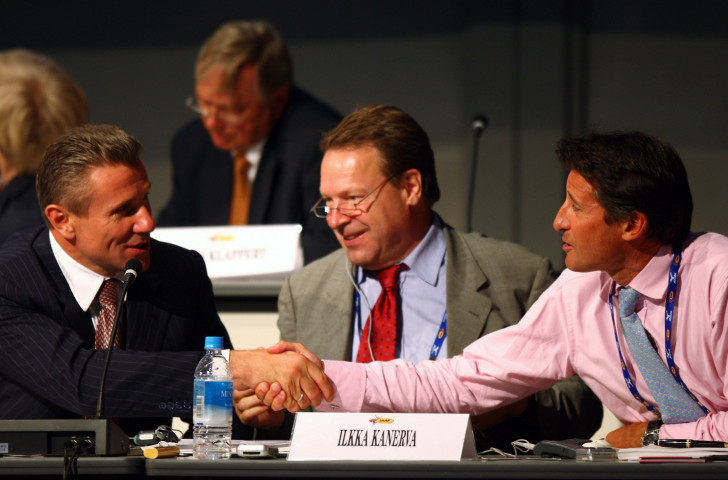 Sergey Bubka (left) and Sebastian Coe shake hands after being voted in as Vice Presidents of the IAAF at the 2007 Congress in Osaka. Now for the Presidential competition