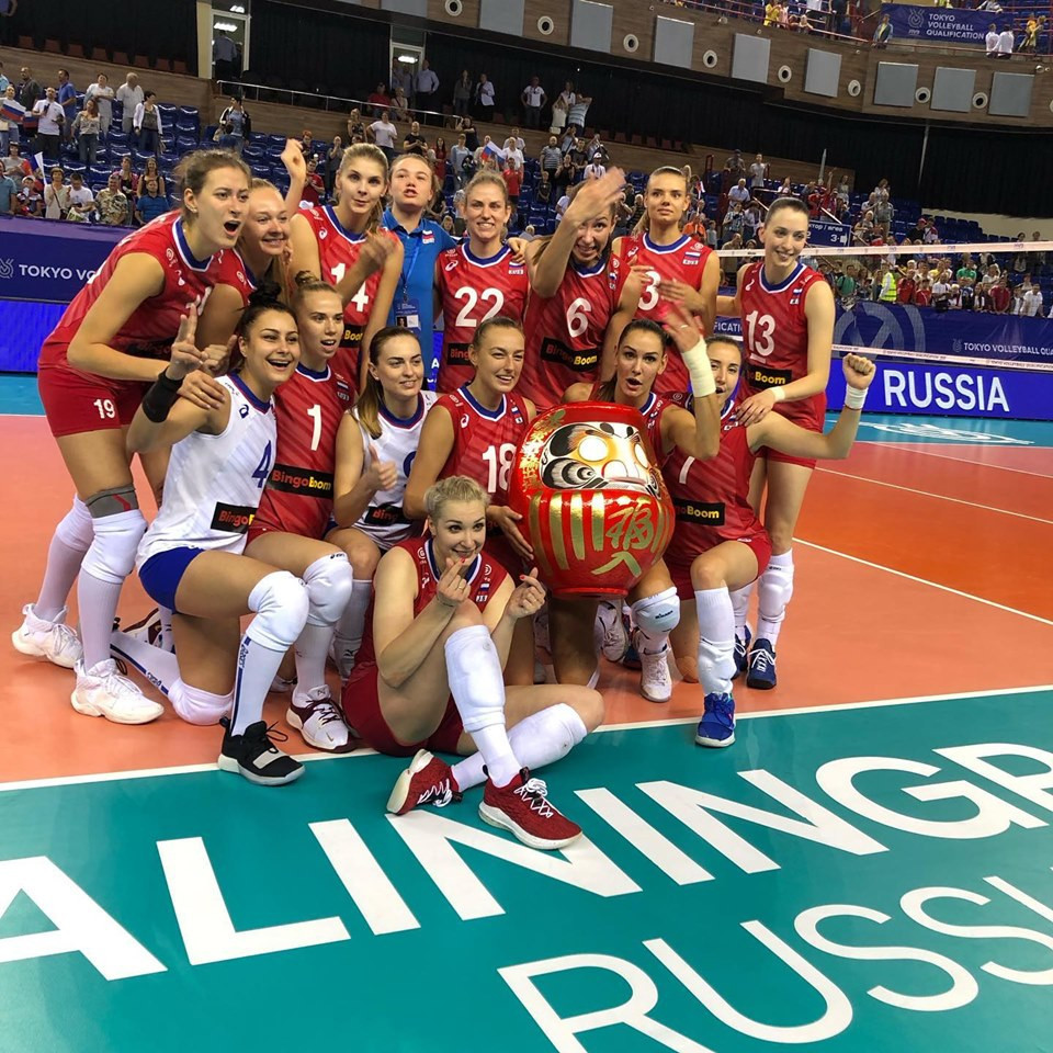 Russia's women's team celebrate after qualifying for Tokyo 2020 unaware that their head coach Sergio Busato was about to get drawn into a major racism row following a slant-eyed gesture ©Facebook