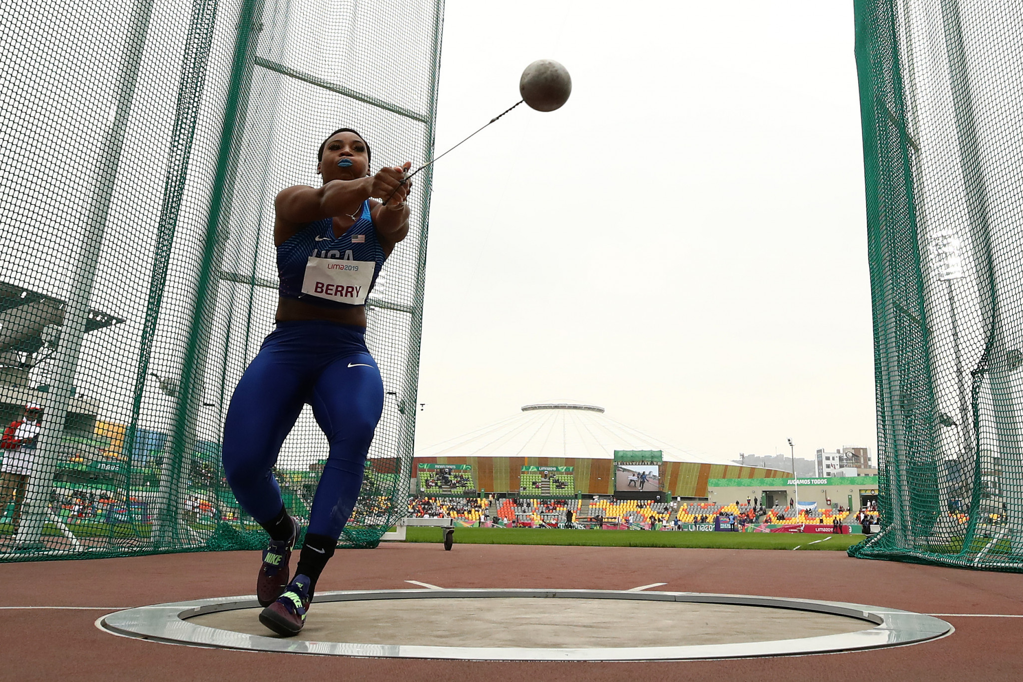 Gwen Berry won the women's hammer throw before staging a political protest ©Getty Images