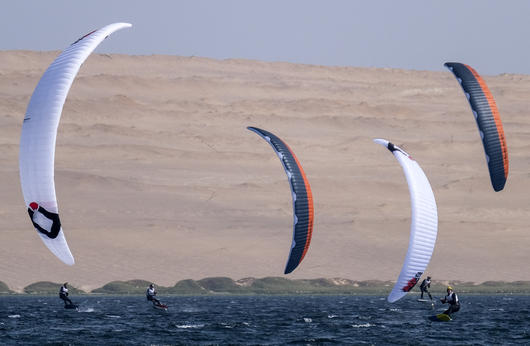 Sailing continued to take place, with competitors in the open windsurfing taking to the water ©Lima 2019