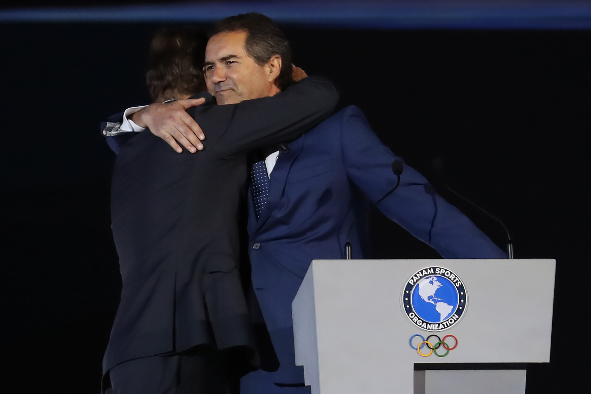 Panam Sports President Neven Ilic congratulated Lima 2019 President Carlos Neuhaus ©Getty Images