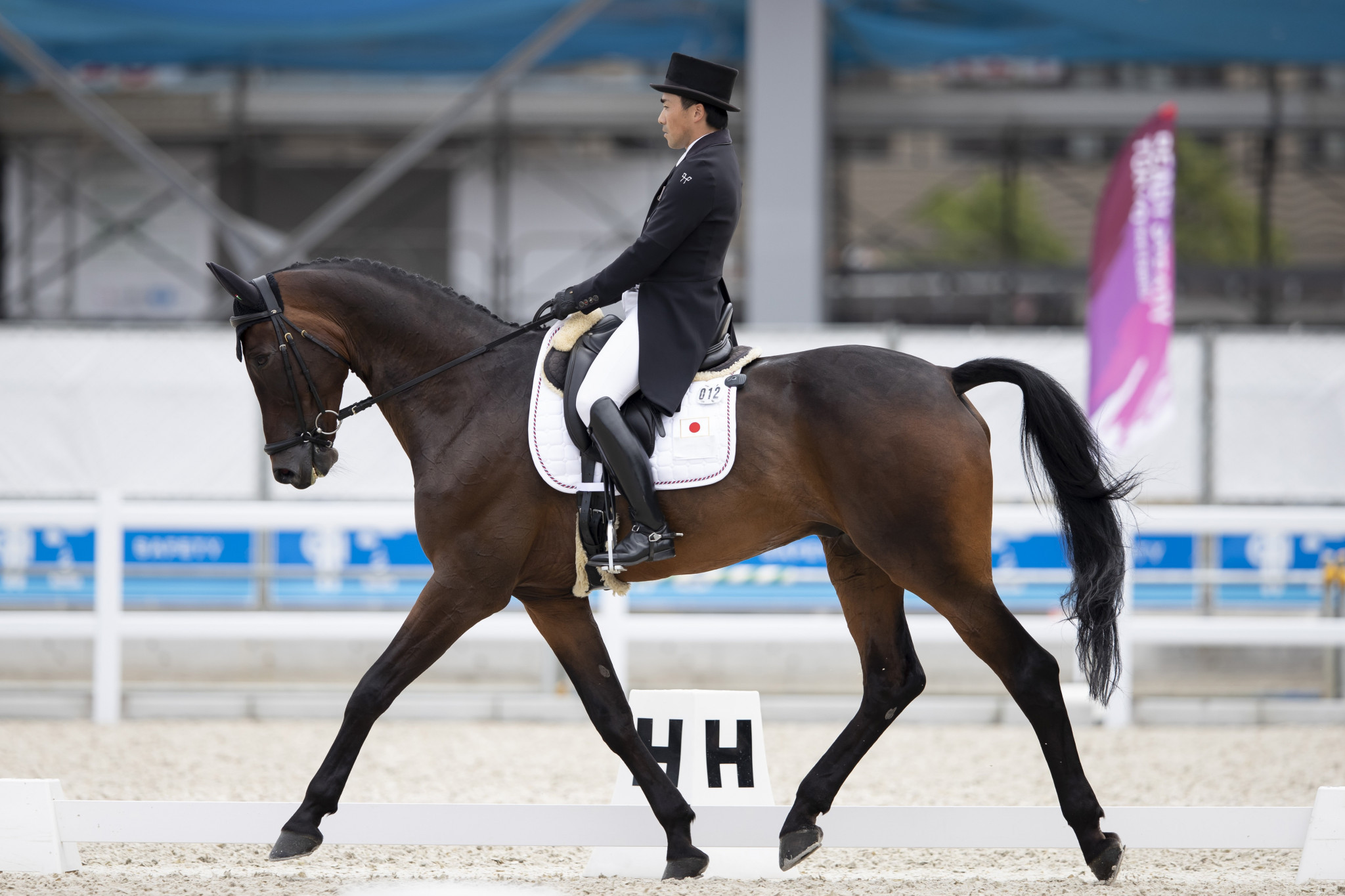 Japan's Yoshiaki Oiwa has put down a strong marker for the home side by taking the early lead after today's dressage phase at the equestrian test event for the Tokyo 2020 Olympic Games ©FEI/Yusuke Nakanishi