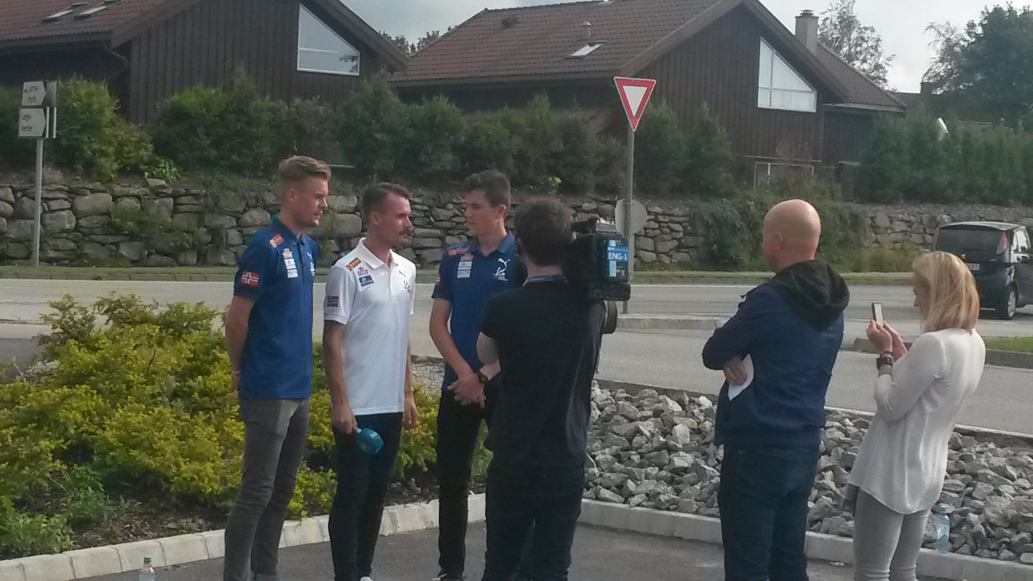 The Brothers Ingebrigtsen - from left, Filip, Henrik and Jakob - prepare to do their thing for Norwegian TV ©ITG