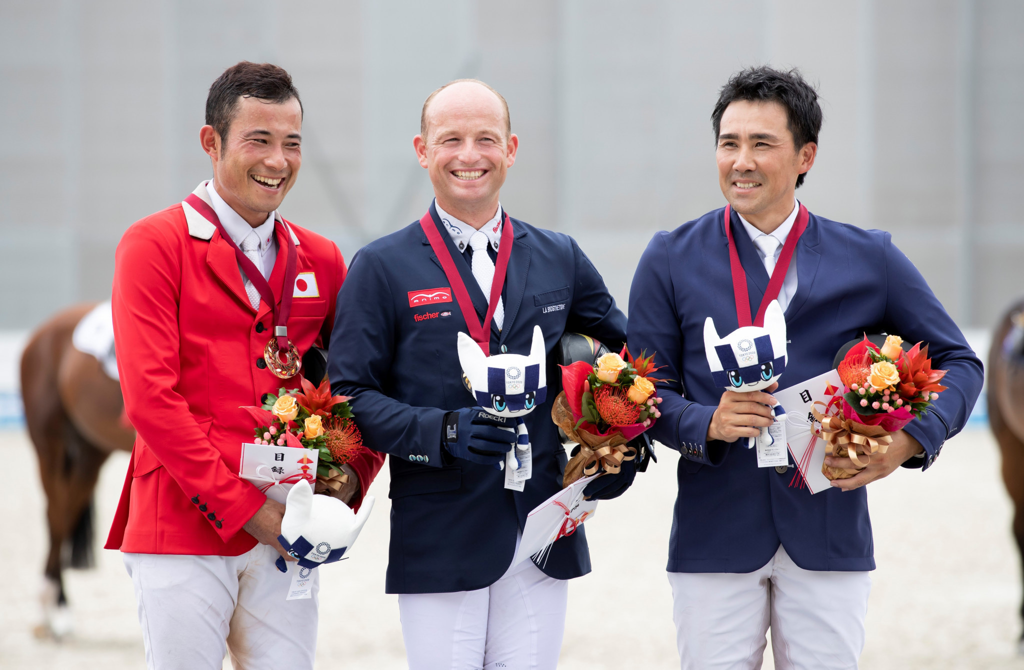 Michael Jung finished ahead of Japan's Ryuzo Kitajima and Yoshiaki Oiwa ©FEI/Yusuke Nakanishi