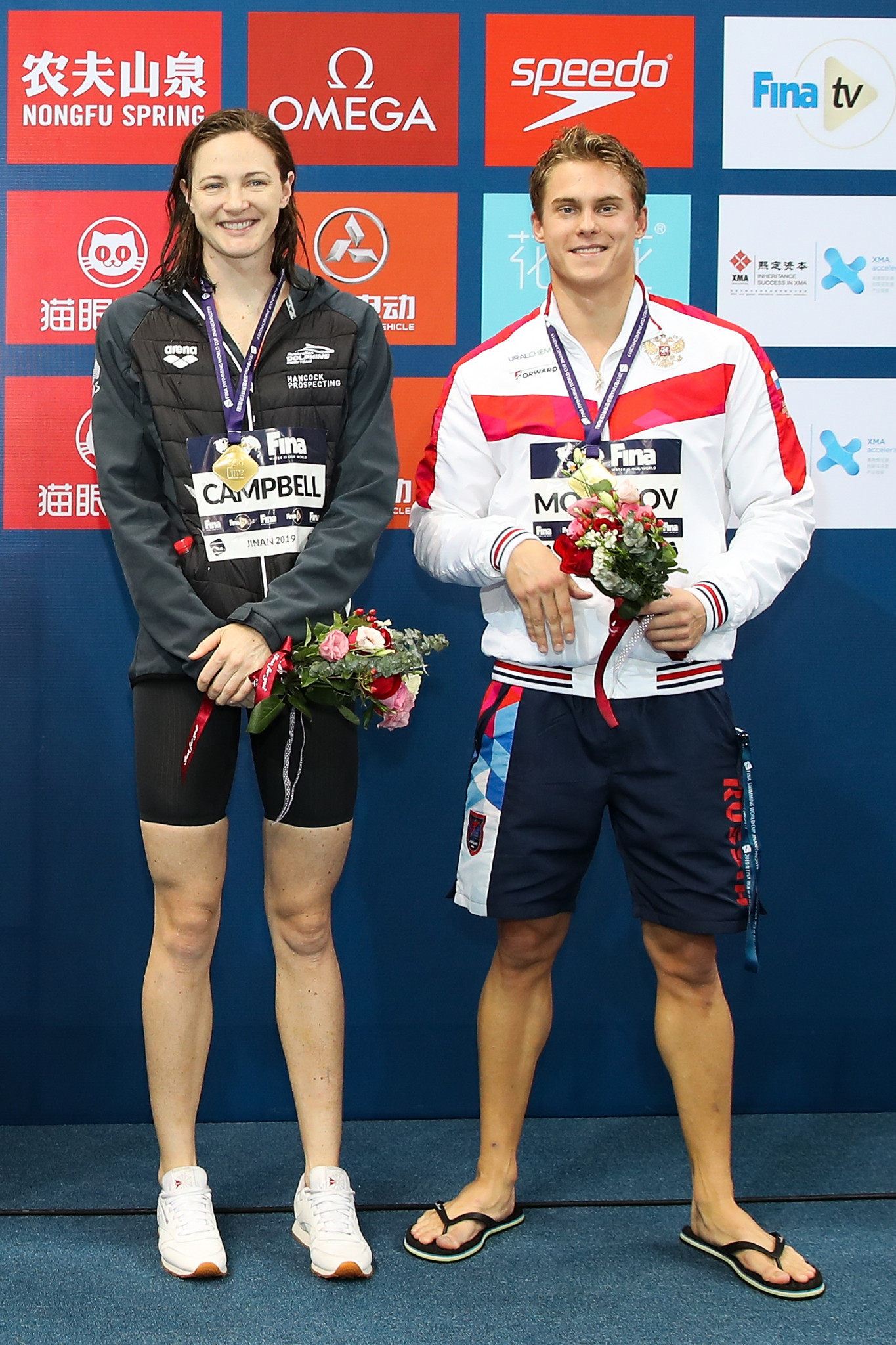Cate Campbell of Australia and Russian Vladimir Morozov lead the standings ahead of the competition in Singapore ©Getty Images