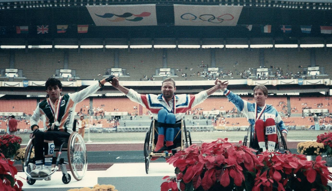 Peter Carruthers was the 100 metres  1B gold medallist at the 1988 Paralympic Games in Seoul ©Bromakin Wheelchairs