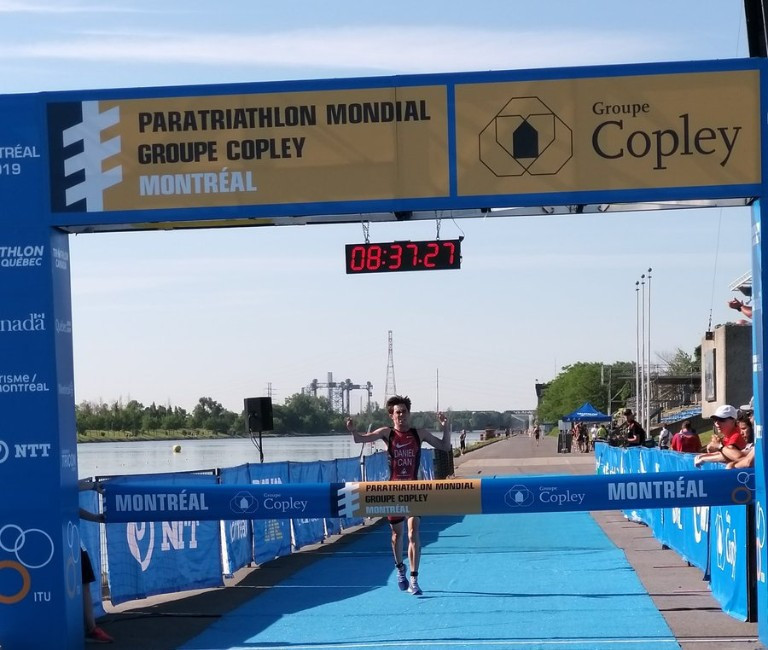 Stefan Daniel earned victory in front of his home crowd at the World Paratriathlon Series in Montreal in June ©Twitter/ triathlonlive
