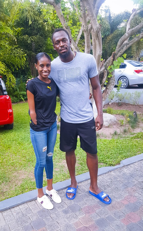 Shauna Kay Hines, seen here with Usain Bolt, is one of nine Jamaican Para-athletes who will compete in Peru this month ©Facebook
