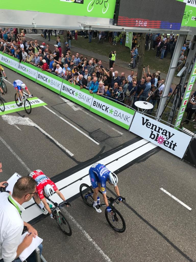 Hodeg wins stage five of BinckBank Tour as Wellens maintains overall lead