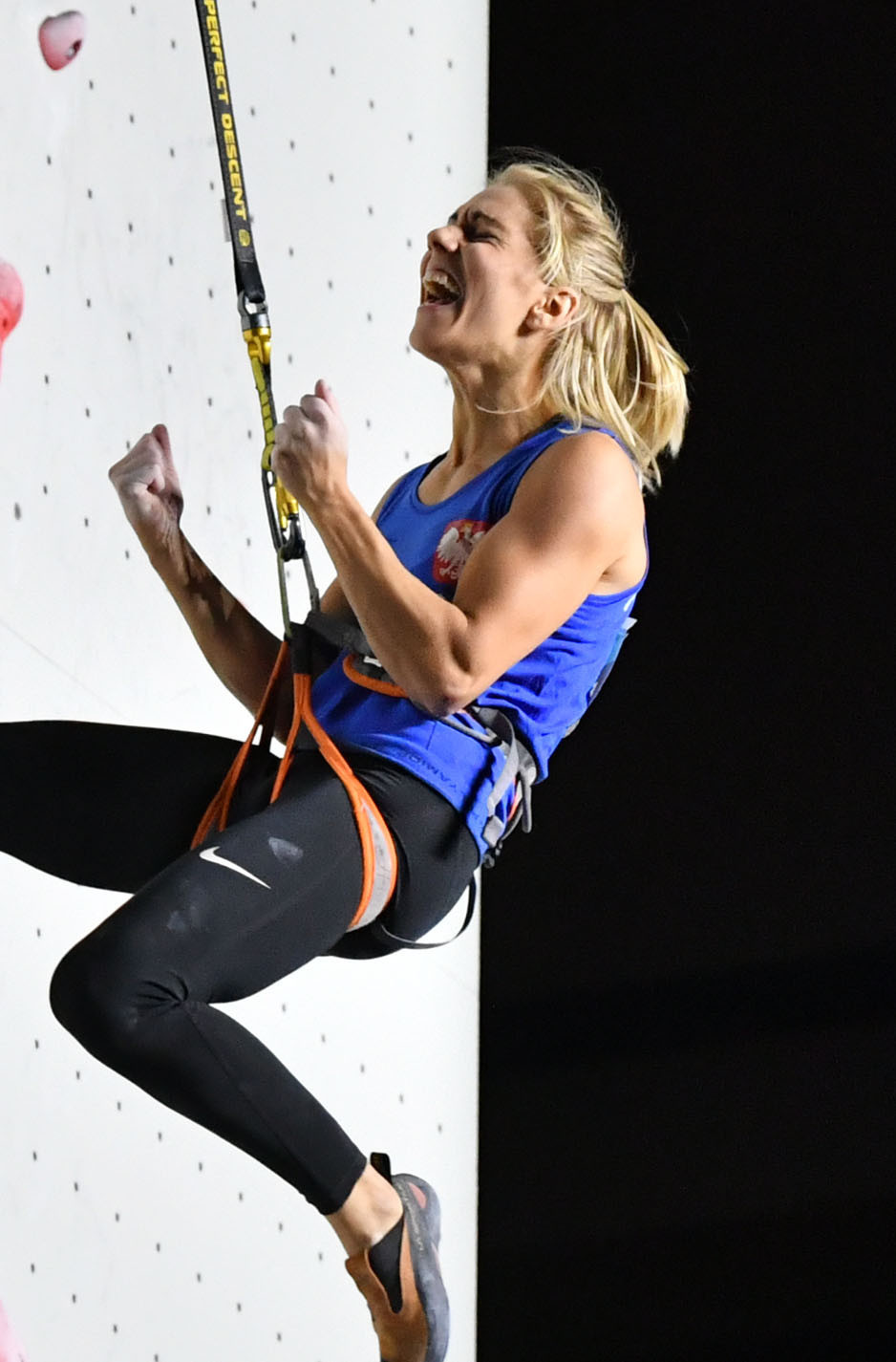 Poland's Aleksandra Miroslaw retained her IFSC speed climbing world title in Japan ©Getty Images